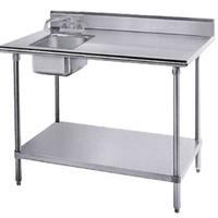 Advance Tabco KMS11B305LX Work Table with 5 Backsplash Sink with Deck Mounted Faucet Left 16 Gauge Stainless Steel Top 18 Gauge Stainless Steel Undershelf and Legs 30 x 60 Length