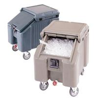 Cambro ICS100L110 Ice Caddy 100 Lb Capacity Sliding Lid Four 5 Casters Two Fixed and Two Swivel Black