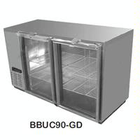 Continental Refrig BBUC50GD Back Bar Cooler 2 Swing Glass Doors with Locks 50 Long x 29 Front to Back 35 Height Black Vinyl Exterior