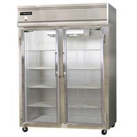Continental Refrig 2REGD Glass Door Merchandiser ReachIn Refrigerator 2 Sing Doors 57 Wide with Castors Value Line Series