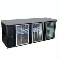 Continental Refrig BBC90GDPT Back Bar Cooler Pass Thru 6 Glass Doors with Locks Stainless Top 90 Long x 3014 D x 3634 High
