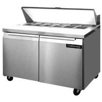 Continental Refrig SW4812 Refrigerated Counter Sandwich or Salad Prep Table 12 16 Size Food Pans 48 Length Casters