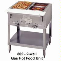 Duke Mfg 302 Hot Food Table 2 Wells Gas 3038 Length Aerohot Steamtable Series