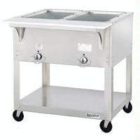 Duke Mfg EP302SW Hot Food Table 2 Wells Electric 3038 Length Portable 5 Casters Individual Sealed Wells with Drains Aerohot Steamtable Series