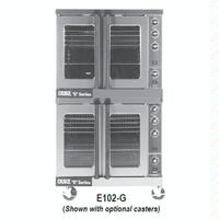 Duke Mfg E102G Convection Oven Gas Double Deck Standard Depth Glass Doors Thermostatic Controls E Series