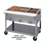 Duke Mfg EP303 Hot Food Table 3 Wells Electric 4438 Length Portable 5 Casters Aerohot Steamtable Series