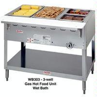 Duke Mfg WB303 Hot Food Table Food Warmer 3 Well 44 38 Length Gas Wet Bath Unit One 15000 BTU Burner Safety Pilot Aerohot Steamtable Series