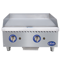 Globe GG24G Griddle Gas Countertop 24 Wide 30000 BTU Per Burner 1 Thick Plate Manual Controls