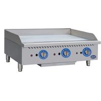 Globe GG36G Griddle Gas Countertop 36 Wide 30000 BTU Per Burner 1 Thick Plate Manual Controls