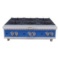 Globe GHP36G Hot Plate Gas Countertop 6 Burners 22000 BTU Each Cast Iron Burners