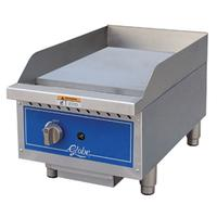 Globe GG15G Griddle Gas Countertop 15 Wide 30000 BTU Per Burner 34 Thick Plate Manual Controls