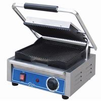 Globe Food Equipment GPG10 Bistro Panini Grill Electric Two Sided Grill 10 x 10 Grooved Iron Plates Thermostatic Control