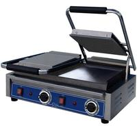 Globe GSGDUE10 Bistro Panini Grill Electric Two Sided Grill Dual 10 x 10 Smooth Plates Thermostatic Control