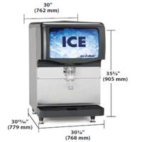 ICEOMatic IOD200 Ice Dispenser Counter Model 200 Lbs Storage Lever Dispensing 10 12 Cup Clearance Cube and Pearl Dispensing only Bin Kits Sold Separately 30 Wide