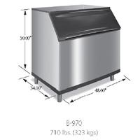 Manitowoc B970 Ice Storage Bin 710 Lb Capacity for Top Mounted Ice Maker Ice Machine Sold Separately 48 Wide Stainless Steel Exterior