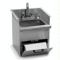 Eagle Group HWBE Hand Sink DropIn 1612 Wide x 1712 Front to Back x 1714High Encore Deck Mount Gooseneck Faucet Basket Drain Soap on Rear Deck Towel Dispenser Hinged Door