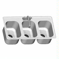 Eagle Group SR1416953 Drop In Sink Three Compartments 14 Wide x 16 Front to Back x 9 12 Bowls With Goose Neck Faucet Basket Drain Mounting Hardware Self Rim