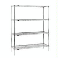 Eagle Group 2460E74 Wire Shelving Starter Kit 4 24W x 60L Shelves 4 74 Posts Green Epoxy with Microgard EAGLEgard Series