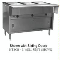 Eagle Group HT4CB120 Hot Food Table Food Warmer 4 Wells Electric 635 Length 305 Wide x 345 Height Dry Wells With Thermostatic Controls Enclosed Base with Sliding Doors SpecMaster Series