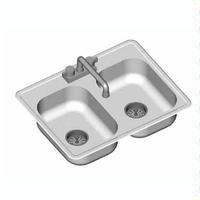 Eagle Group SR22221352 Drop in Sink Two Compartments Inside Bowl Dimensions 22 Wide x 22 Front to Back 13 12 Deep With Swing Mount Faucet