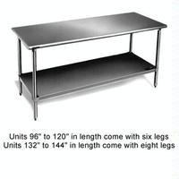 Eagle Group T3084B1X Work Table Stainless Steel Top Galvanized Undershelf and Legs 30 x 84 Length 16 Gauge Top Budget Series