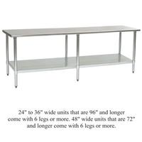 Eagle Group TSEB Worktables And Stands Worktables - 16 gauge stainless steel work table