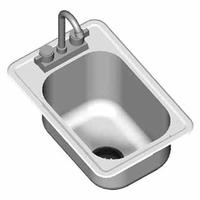 Eagle Group SR1014511X Drop In Sink One Compartment 10 W x 14 Front to Back x 5 Deep with Deck Mounted Gooseneck Faucet Basket Drain and Mounting Hardware 20 Gauge NSF