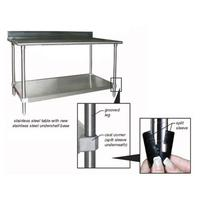 Eagle Group T2472BBS1X Work Table with 45 Inch Backsplash Stainless Steel Top Galvalnized Undershelf 24 x 72 Length