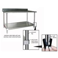 Eagle Group T3036BBS1X Work Table with 45 Inch Backsplash Stainless Steel Top Galvanized Undershelf 30 x 36 Length Budget Series