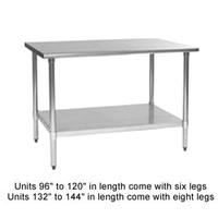 Eagle Group T3048B1X Work Table Stainless Steel Top Galvanized Undershelf and Legs 30 x 48 Length 16 Gauge Top Budget Series