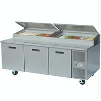 Randell 8395NPCB Refrigerated Counter DeliPizza Prep Table Raised Rail 3 Stainless Steel Doors 95 Long x 33 Front to Back Poly Top 6 Casters