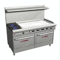 Southbend Range S60DD4G Range 60 2 Burners 28000 BTU 48 Manual Griddle right With Two 26 Ovens 35000 BTU S Series