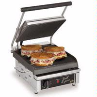 Star Mfg GX10IG Sandwich Grill Electric Two sided Grill 10 Grooved Iron Grill Plates Thermostatic Control Grill Express Series