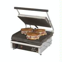 Star Mfg GX14IG Sandwich Grill Electric Two sided Grill 14 Grooved Iron Grill Plates Thermostatic Control Grill Express Series