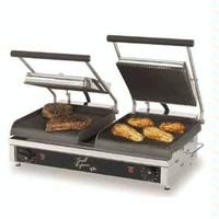 Star Mfg GX20IGS Sandwich Grill Electric Two sided Grill 20 Plates One Side Grooved Iron Plates Top and Bottom One Side Smooth Iron Grill Plates Top and Bottom Thermostatic Control Grill Express Series