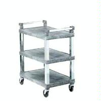 Vollrath 97102 Utility Cart 300 lb capacity Plastic 29 12 x 18 Gray Finish Chrome Uprights and Handles 4 Swivel Casters