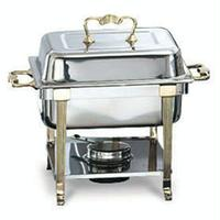 Vollrath 46035 Chafer Rectangular Half Size 43 Quart Capacity Dome Cover Complete with Rack and Half Size 2 12 Food and Water Pans Fuel Holder Fuel Sold Separately