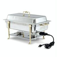 Vollrath 46045 Chafer Rectangular 9 Quart Capacity Cover Complete with Brass Trim Rack Water Pan 2 12 Food Pan and Fuel Holders ELECTRIC
