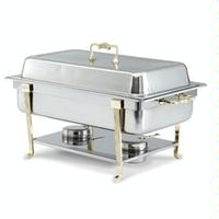 Vollrath 46050 Chafer Rectangular 9 Quart Capacity Cover Complete with Brass Trim Rack Water Pan 2 12 Food Pan and Fuel Holders