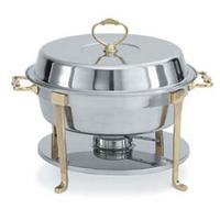 Vollrath 46030 Chafer Classic Round Design 6 Quart Capacity Complete with Rack Round Food and Water Pans Dome Cover Fuel Holder Fuel Sold Separately