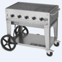 Crown Verity MCB36NG CharBroiler Outdoor Portable 36 Wide Radiant Style Natural Gas Includes Hose and Regulator 79500 BTU