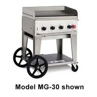 Crown Verity MG30LP Griddle Outdoor Portable LP Gas 30 Long x 21 Front to Back 15000 BTU Per Burner 4 Burners Manual Control Stainless Undershelf and Legs 14 Wheels