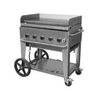 Crown Verity MG36NG Griddle Outdoor Portable Nautral Gas 36 Long x 21 Front to Back 15900 BTU Per Burner 5 Burners Manual Control Stainless Undershelf and Legs 14 Wheels