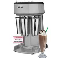 Waring WDM360 Drink Mixer Triple Spindle 3 Speed Motor Pulse Switch Stainless Steel Malt Cups Included