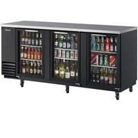 Turbo Air TBB4SGN Back Bar Cooler 3 Swing Glass Doors 8 Shelves 9038 Wide Black with Stainless Top Casters