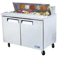 Turbo Air MST48 Refrigerated Counter Sandwich or Salad Prep Table 2 Doors Includes 12 16 Size Insert Pans 4814 Long Casters M3 Series