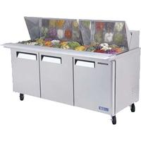 Turbo Air MST7230N Refrigerated Counter Sandwich Salad Prep Table Mega Top 30 16 Size Insert Pans 7253 Length Casters