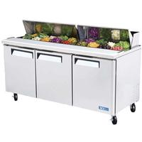 Turbo Air MST72 Refrigerated Counter Sandwich Salad Prep Table 3 Doors Includes 18 16 Size Insert Pans 7258 Long Casters M3 Series