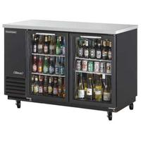 Turbo Air TBB2SGN Back Bar Cooler 2 Swing Glass Doors 6 Shelves 5834 Wide Black with Stainless Top Casters