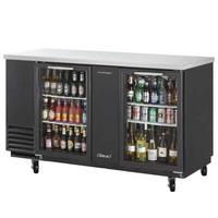 Turbo Air TBB3SGN Back Bar Cooler 2 Swing Glass Doors 6 Shelves 6 Shelves 69 Wide Black with Stainless Top Casters